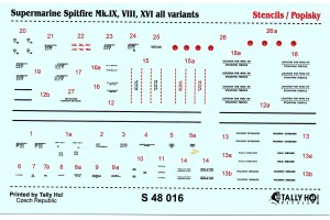 Stencils - Spitfire Mk.IX, VII, XIV (1:48) - S48016