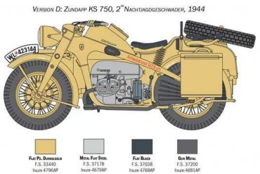 Model Kit military 7406 - Zundapp KS 750 with sidecar (1:9)